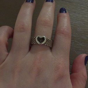 Mesh like Tiffany ring with heart